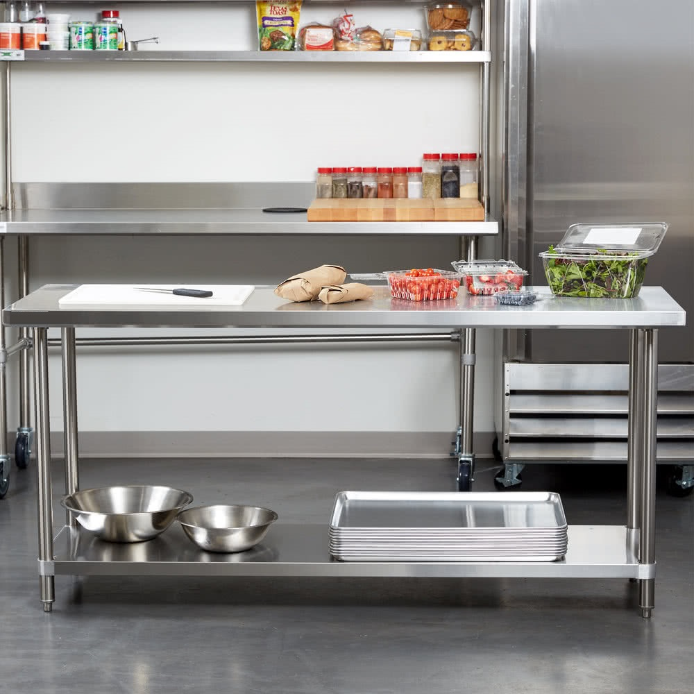 """24"""" x 60"""" stainless steel work table with undershelf in"""