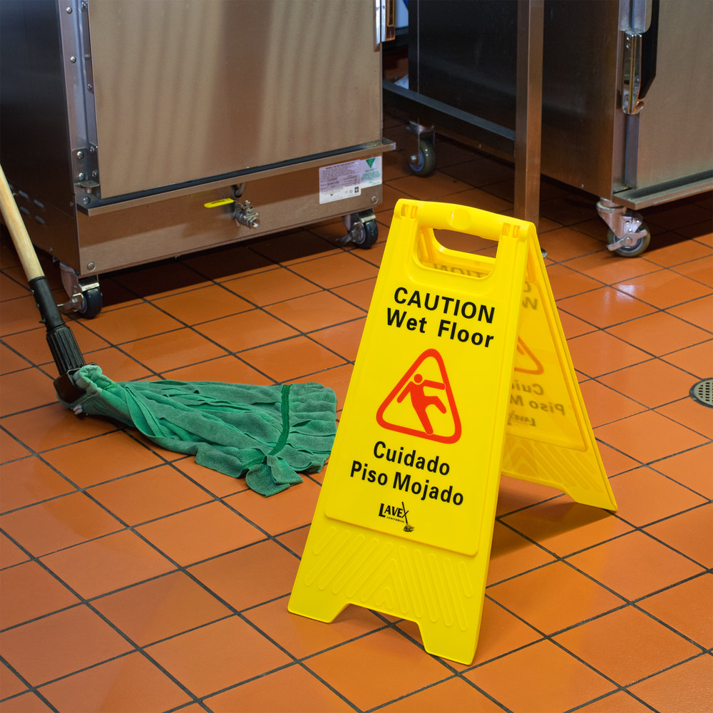"24"" Yellow Caution Wet Floor Sign"