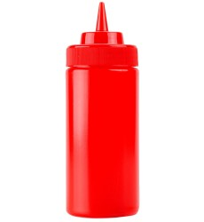 16oz Red Squeeze Bottle With Wide Mouth