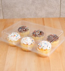 6-Compartment Plastic Cupcake Containers