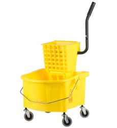 25 Qt Yellow Mop Bucket With Side Press Wringer