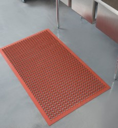 "3' x 5' x 3/4"" Grease Proof Red Floor Mat"